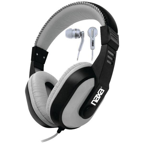 Naxa NE-934Gray DJZ Ultra Plus Headphone/Earbud Combo (Gray) - Peazz.com
