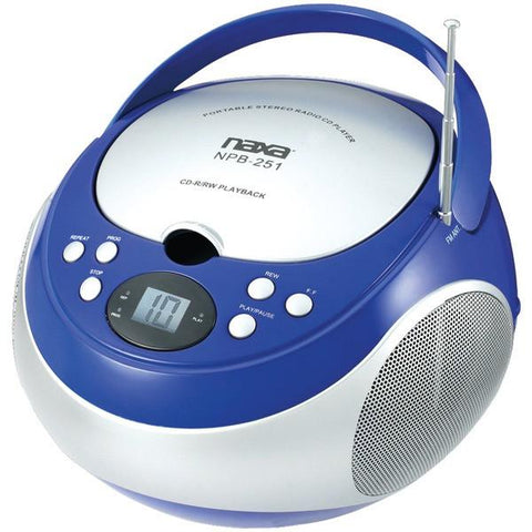 Naxa NPB251BL Portable CD Players with AM/FM Radio (Blue) - Peazz.com
