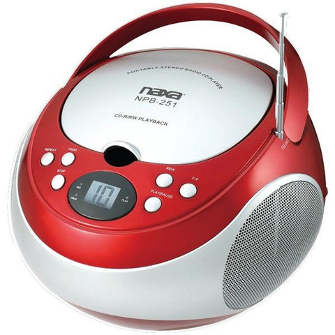 Naxa NPB251RD Portable CD Players with AM/FM Radio (Red) - Peazz.com