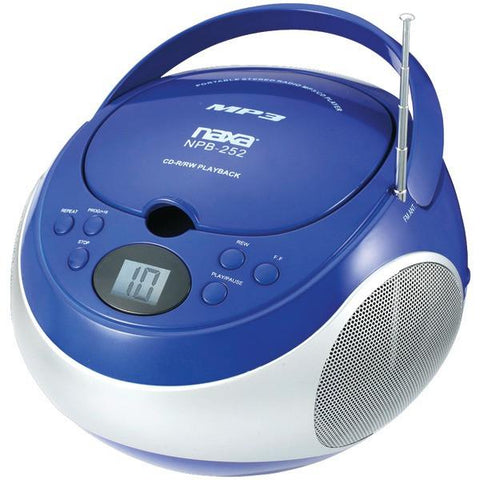 Naxa NPB252BL Portable CD/MP3 Players with AM/FM Stereo (Blue) - Peazz.com