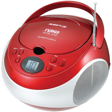 Naxa NPB252RD Portable CD/MP3 Players with AM/FM Stereo (Red) - Peazz.com