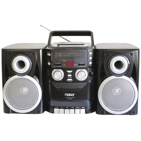 Naxa NPB426 Portable CD Player with AM/FM Radio, Cassette & Detachable Speakers - Peazz.com