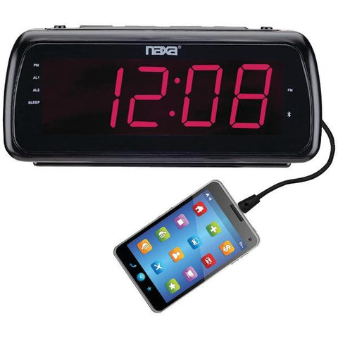 "Naxa NRC-180 Large 1.8"" LED Alarm Clock with USB Charge Port - Peazz.com"
