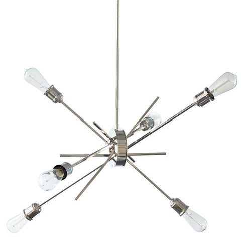 Dainolite NEB-336P-BC 6Lt Pendant, Burnished Chrome Finish