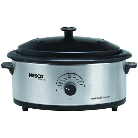 NESCO/American Harvest 4816-25PR 6-Quart Stainless Steel Roaster Oven with Porcelain Cookwell - Peazz.com