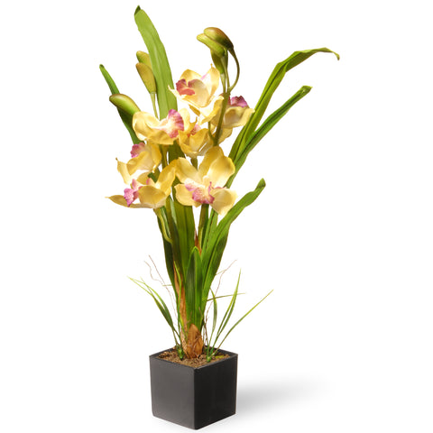 National Tree NF36-5283S-1 Potted Yellow Orchids