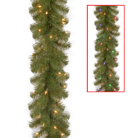"National Tree NRV7-302LD-9AB1 9' x 10"" North Valley Spruce Garland with 50 Battery Operated Dual LED Lights"