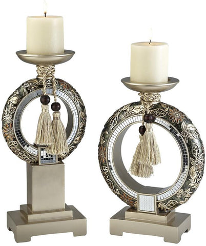 Ok Lighting OK-4238C Chrysanthemum Candleholder Set - Peazz.com
