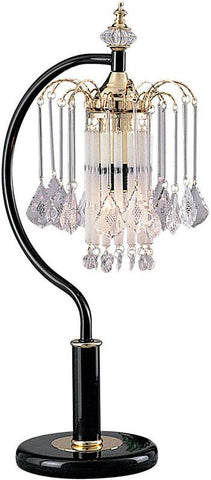Ok Lighting OK-957TK Black Tablelamp With Crystal Shade - Peazz.com