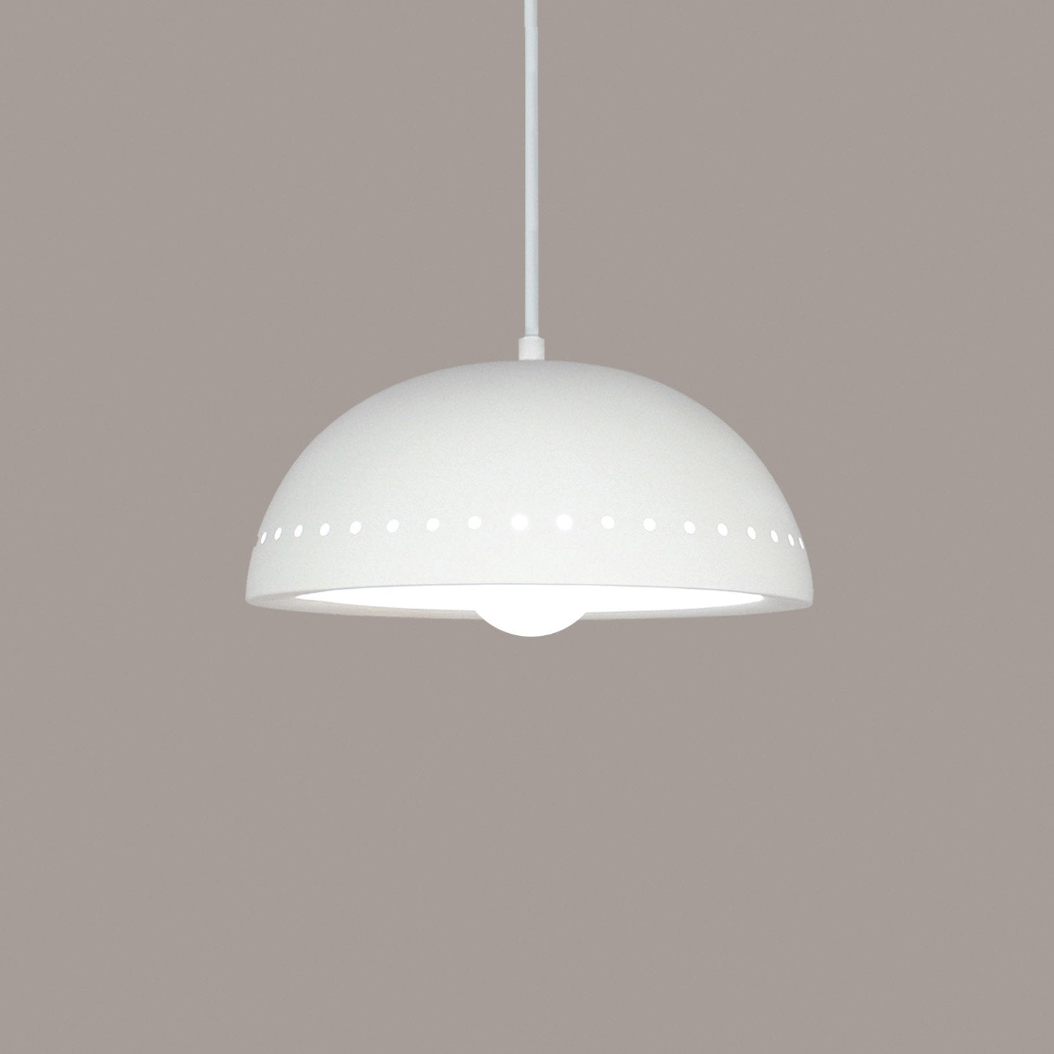A19 P305-LEDGU24-WC-BCC Islands of Light Collection Cyprus White Crackle Finish Pendant