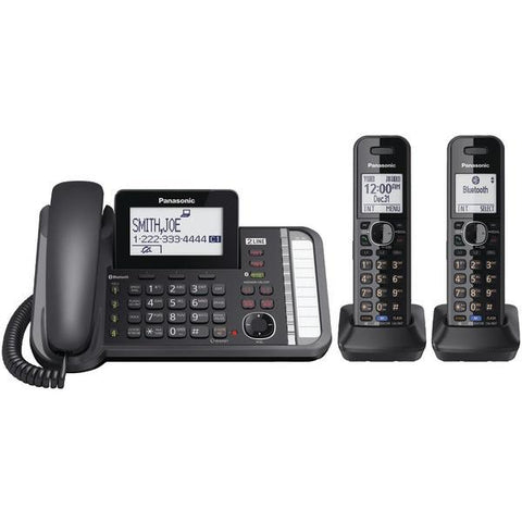 Panasonic KX-TG9582B DECT 6.0 1.9 GHz Link2Cell 2-Line Digital Corded/Cordless Phone (2 Handsets) - Peazz.com