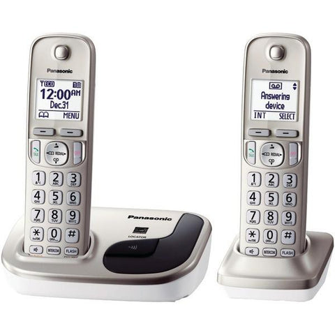 Panasonic KX-TGD212N DECT 6.0 Plus 2-Handset Expandable Digital Cordless Phone System - Peazz.com