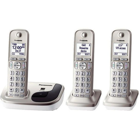 Panasonic KX-TGD213N DECT 6.0 Plus 3-Handset Expandable Digital Cordless Phone System - Peazz.com