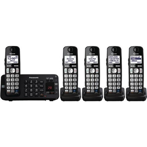 Panasonic KX-TGE245B DECT 6.0 Plus Expandable Digital Cordless Answering System (5-Handset System) - Peazz.com