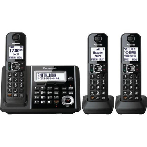 Panasonic KX-TGF343B DECT 6.0 1.9 GHz Expandable Digital Cordless Phone System (3 Handsets) - Peazz.com