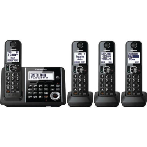 Panasonic KX-TGF344B DECT 6.0 1.9 GHz Expandable Digital Cordless Phone System (4 Handsets) - Peazz.com