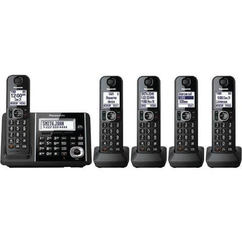 Panasonic KX-TGF345B DECT 6.0 1.9 GHz Digital Cordless Phone (5 Handsets) - Peazz.com