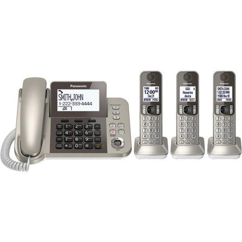 Panasonic KX-TGF353N DECT 6.0 Corded/Cordless Phone System with Caller ID & Answering System (3 Handsets) - Peazz.com
