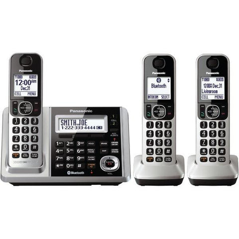 Panasonic KX-TGF373S DECT 6.0 1.9GHz Link2Cell Expandable Digital Cordless Phone System with Answer System (3 Handsets) - Peazz.com