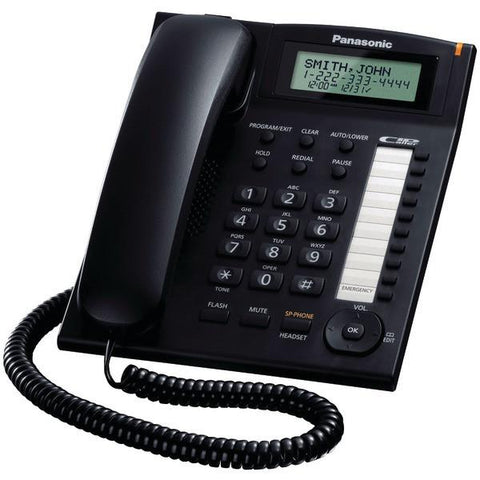 Panasonic KX-TS880B Single-Line Corded Integrated Phone System with 10 One-Touch Dialer Stations (Black) - Peazz.com