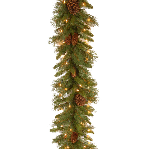 "National Tree PC-9GLO-1 9' x 10"" Pine Cone Garland with 50 Clear Lights-UL"