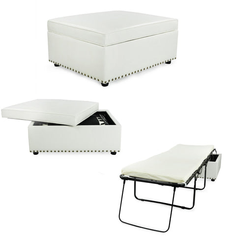 iBED PC111 iBED Convertible Ottoman Guest Bed in White