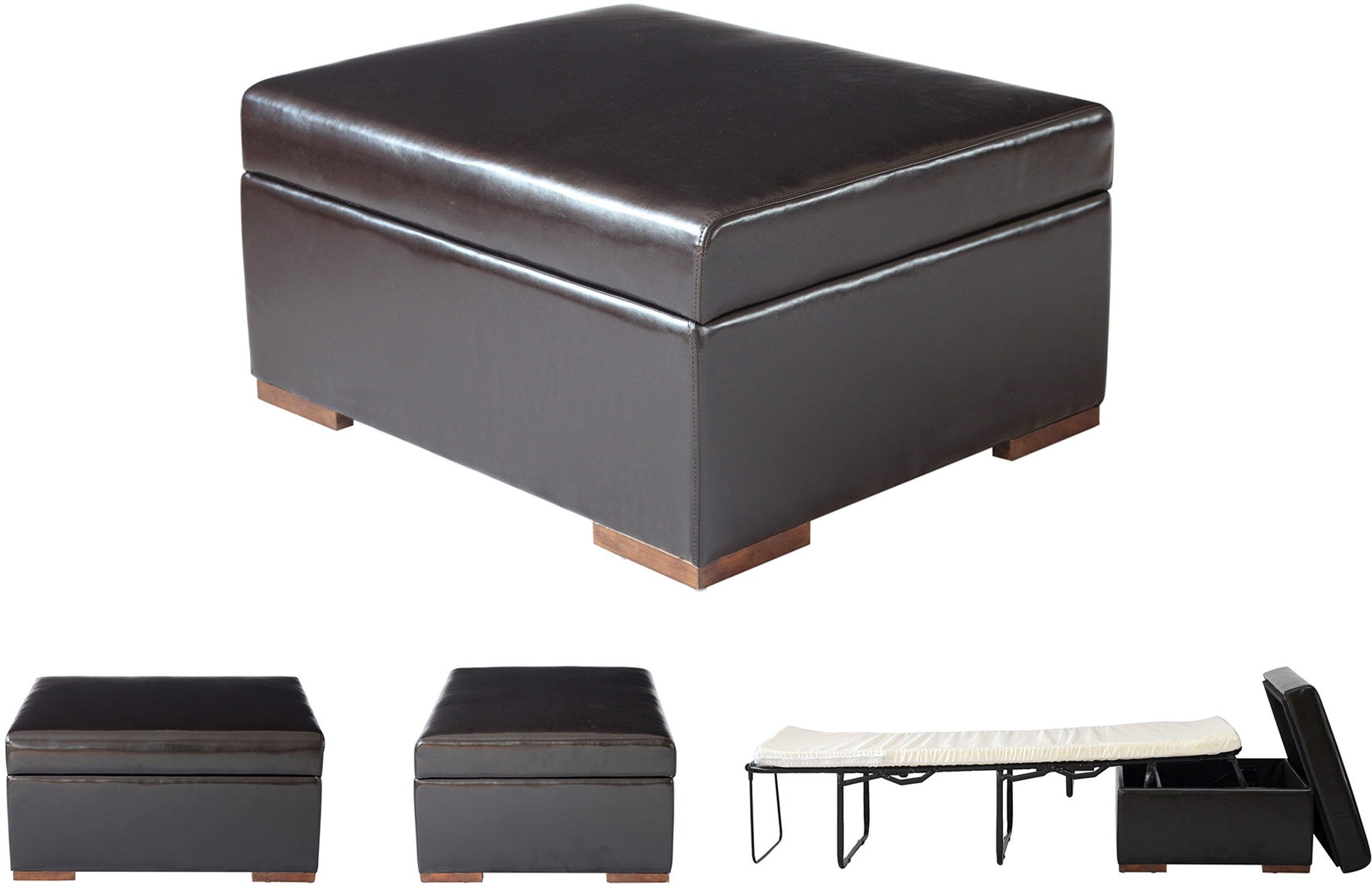 iBED PC777 iBED Convertible Ottoman Guest Bed in Dark Espresso