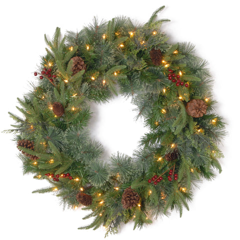 "National Tree PECO4-306-30W-1 30"" ""Feel-Real"" Colonial Wreath with Berries, Cones and 50 Clear Lights"