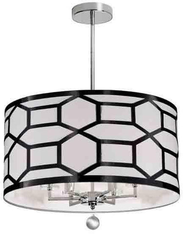 Dainolite PEM-226C-PC-BW 6LT Chandelier, Black & White
