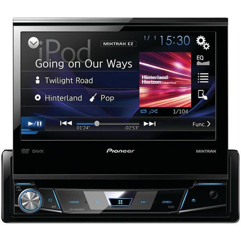 "Pioneer AVH-X6800DVD 7"" Single-DIN In-Dash DVD Receiver with Flip-out Display, Spotify & AppRadio One - Peazz.com"