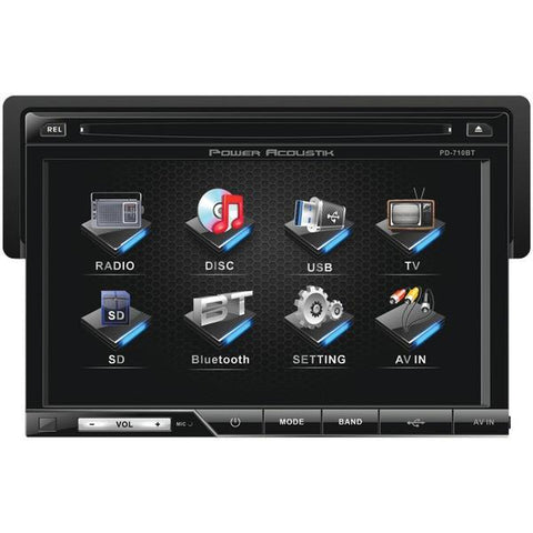 "Power Acoustik PD-710B 7"" Single-DIN In-Dash LCD Touchscreen DVD Receiver (With Bluetooth) - Peazz.com"