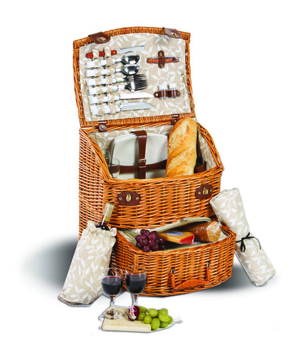 Picnic Plus PSB-469 Exeter Four Person Picnic Basket Vine Lining (V) Finish
