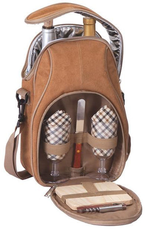 Picnic Plus PSM-229CM Brava Wine and Cheese Bag Camel Suede Finish