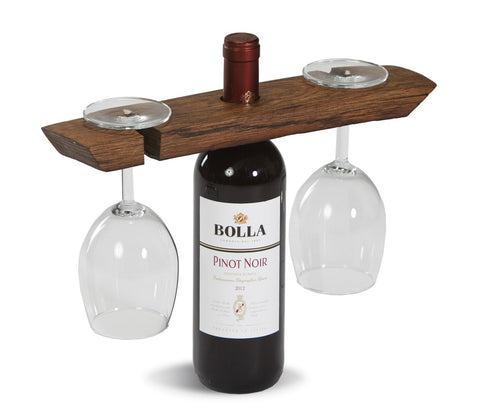 Picnic Plus PSU-741 Wine Barrel Glass Caddy Wine Barrel Staves Finish