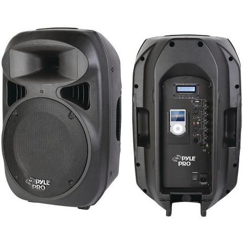 Pyle PPHP1299AI 2-Way Full-Range Powered Loudspeaker System with Built-in iPod Dock (12''; 1,000W) - Peazz.com