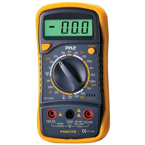 Pyle PDMT29 Digital LCD AC, DC, Volt, Current, Resistance & Range Multimeter with Rubber Case & Stand - Peazz.com