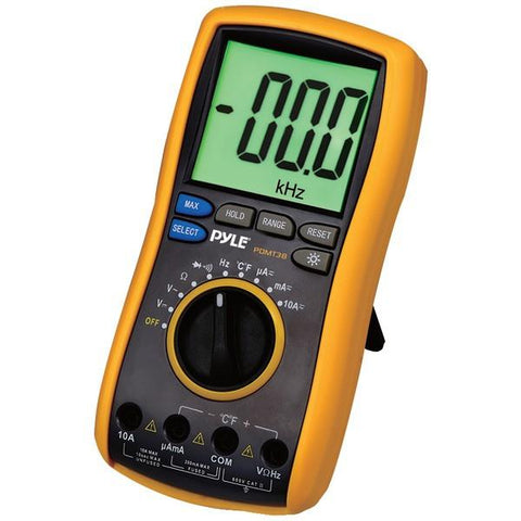 Pyle PDMT38 Digital LCD AC, DC, Volt, Current, Resistance & Range Multimeter with Rubber Case, Test Leads & Stand - Peazz.com
