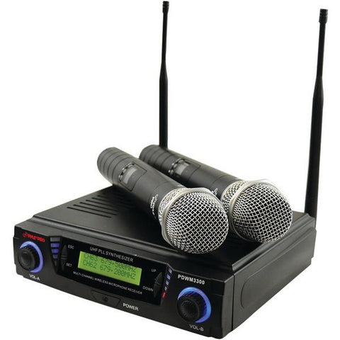 Pyle PDWM3300 Wireless Professional UHF Dual Channel Microphone System with Adjustable Frequency - Peazz.com