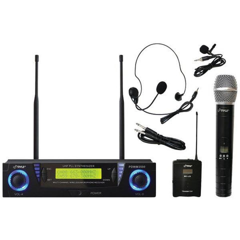 Pyle PDWM3500 Professional UHF Dual-Channel Wireless Microphone System with Adjustable Frequency - Peazz.com