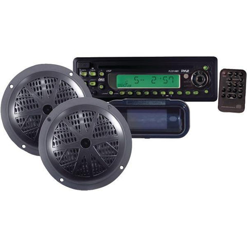 "Pyle PLCD14MRKT Marine Single-DIN In-Dash CD AM/FM-MPX Receiver with Two 5.25"" Speakers & Splashproof Radio Cover (Black) - Peazz.com"