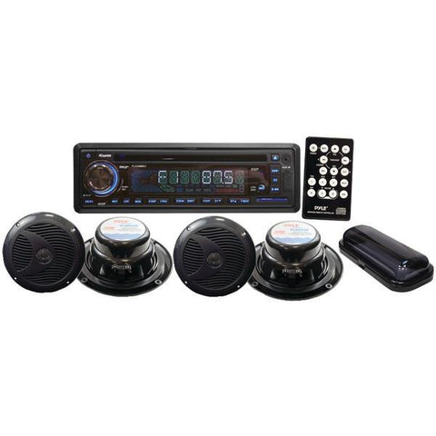 Pyle PLCD4MRKT Marine Single-DIN In-Dash CD AM/FM-MPX Receiver with 4 Speakers & Stereo Cover - Peazz.com