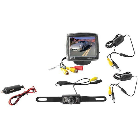 "Pyle PLCM34WIR 3.5"" Wireless Backup Camera & Monitor System with Night Vision - Peazz.com"