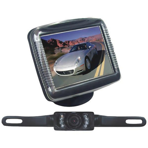 "Pyle PLCM36 3.5"" Slim TFT LCD Universal Mount Monitor System with License Plate Mount & Backup Camera - Peazz.com"