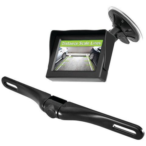 "Pyle PLCM4350WIR Wireless Backup Parking-Assist System with License Plate Camera, 4.3"" Monitor & Wireless Adapters - Peazz.com"