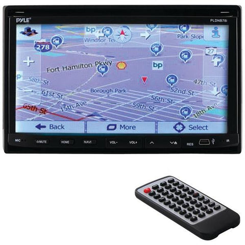 "Pyle PLDNB78I 7"" Double-DIN In-Dash LCD Motorized Fold-down Touchscreen Navigation DVD Receiver with Bluetooth & GPS - Peazz.com"