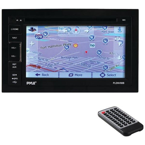 "Pyle PLDNV66B 6.5"" Double-DIN In-Dash LCD Touchscreen Navigation DVD Receiver with Bluetooth & GPS - Peazz.com"