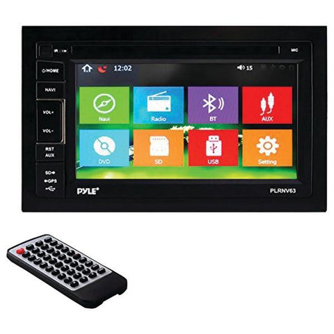 "Pyle PLRNV63 6.5"" Double-DIN In-Dash Navigation Mechless AM/FM-MPX Receiver with GPS & Bluetooth - Peazz.com"