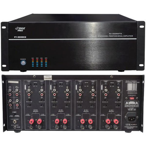 Pyle Home PT8000CH 8-Channel, 8,000-Watt Stereo/Mono Amp - Peazz.com