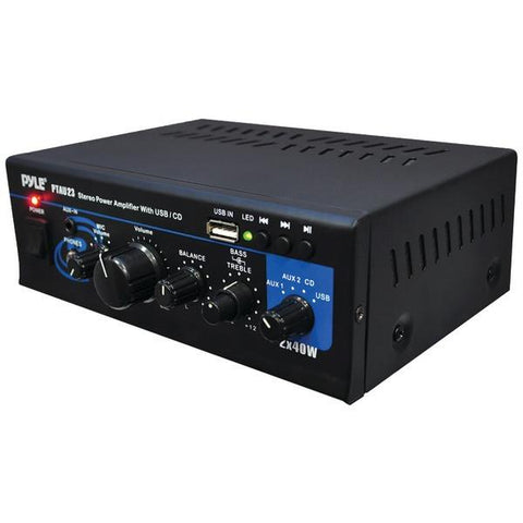 Pyle Home PTAU23 40-Watt x 2 Mini Stereo Power Amp with USB Reader - Peazz.com