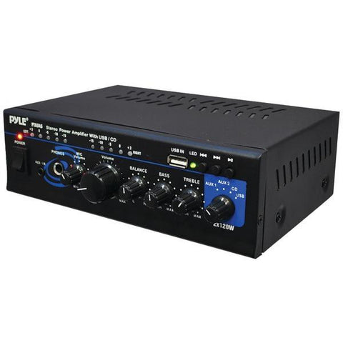 Pyle Home PTAU45 120-Watt x 2 Stereo Power Amp with USB Reader - Peazz.com